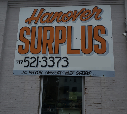 Hanover Surplus in Hanover PA offers tools and hardware, home decor, country primitive decorations, furniture, garden flags, house flags, home and building materials, landscape landscaping materials, and water garden materials.